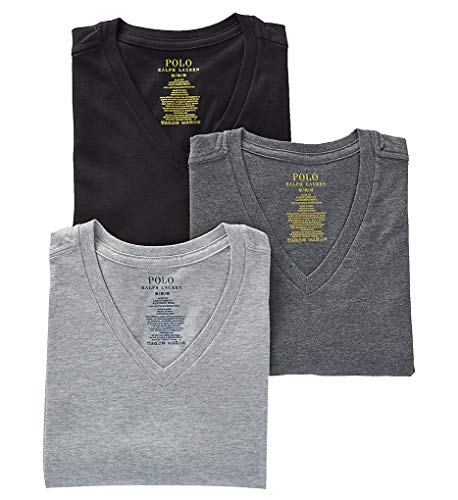 Polo Ralph Lauren Slim Fit 100% Cotton V Neck T-Shirts - 3 Pack (RSVNP3) L/Andover/Madison/Blk