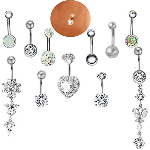 JDXN 10PCS 14G Stainless Steel Belly Button Rings CZ Butterfly Heart Dangling Dangle Navel Ring Body Piercing (Steel Color)