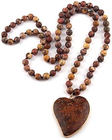 TUDUDU Joyería Bohemia De Moda Piedra Natural De Ojo De Tigre Anudada Piedra Marrón Colgante De Corazón Collar De Mujer Longitud 86 Cm