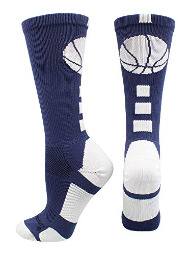 (MadSportsStuff Basketball Logo Athletic Crew Socks, Small - Navy/White)