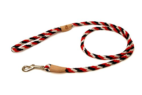 Alvalley Red-White-Dark Blue Sport Snap Lead for Dogs Made of Strong Multifilament Polypropylene Rope (8mm X 123cm or 5/16 in X 4ft)