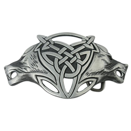 VIGOROSO Men Gothic Funny Lovely Celtic Wild Wolf Fox Double Head Belt Buckle