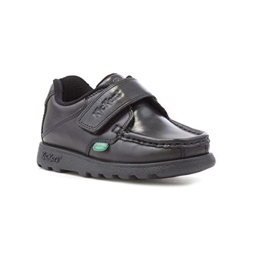 Kickers Boys Black Leather Touch Fasten Shoe - Size 26/9.5 Kids US - Black - Kickers Leather