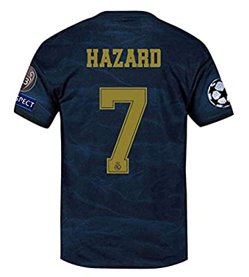 CYFyre Real Madrid 2019/2020 New Season #7 Hazard Mens Away Soccer Jersey & League Armbands Blue (S-XL)