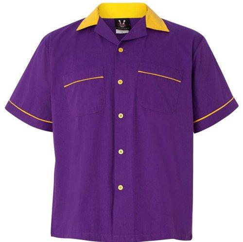 Hilton Adult Unisex Legend Bowling Shirt, Purple/Gold Medium- Legend Bowling Shirt