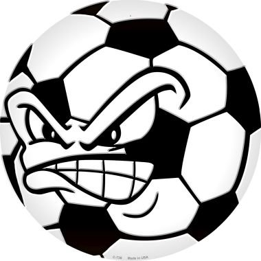Smart Blonde Angry Soccer Ball Novelty Metal Circular Sign C-738