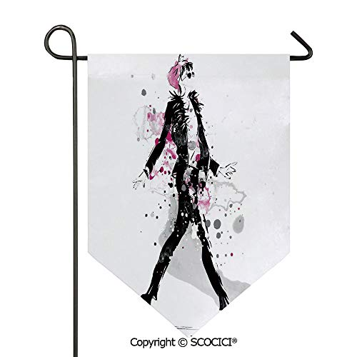 - SCOCICI Easy Clean Durable Charming 12x18.5in Garden Flag Glamorous Stylish Woman Model on Catwalk Runway in Vintage Clothes Design,Black Pink Double Sided Printed,Flag Pole NOT Included