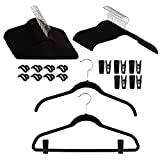 Joy Mangano (68 Piece Set Huggable Clothing Hangers Non Slip Velvet Hangers with Finger Clips Space Saving Clothes Hanger with Bar