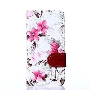 ZXM- estampado de flores blanco de cuero de la PU de la cubierta del cuerpo completo con cueva solt tarjeta para el iphone 5 / 5s
