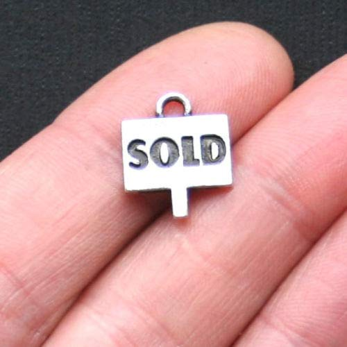 - 8 Realtor's Sold Sign Charms Antique Silver Tone - SC1239 DIY Jewelry Making Supply for Charm Pendant Bracelet by Charm Crazy