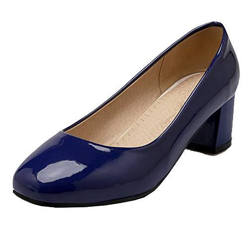 Femme À Légeres Gmbdb011047 Talon Chaussures Correct Unie Couleur Bleu Verni Agoolar 54qcdfwp4