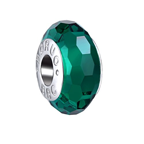 Boruo 925 Sterling Silver Czech Crystal Fascinating Facet Emerald Glass Charms Beads Spacers May Birthstone Solid Core Charm Fit All Bracelets. -