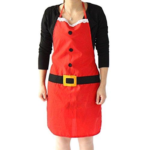 Unisex Christmas Santa Kitchen Apron, Women's Men's Santa Claus Costume Christmas Decoration Party Props Home Restaurant Bistro Waiter Chef Aprons Cooking Baking BBQ Bib Apron Housewarming Xmas (Plus Size Sally Costumes)