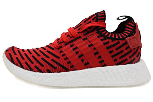 adidas NMD R2 Primeknit Mens in Core Red/Running White, 11.5