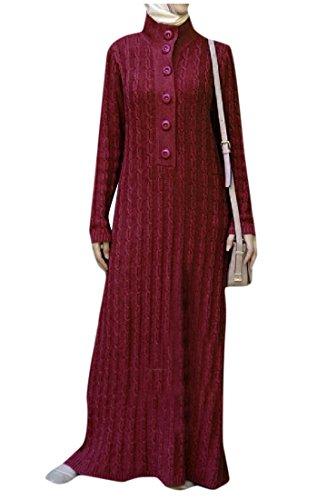 Coolred-femmes Classique Islamic Musulman Couleur Pure Maille Pleine Longueur Robe De Vin Rouge