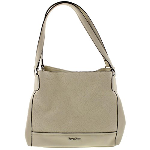 Franco Sarto Womens Alyse Embossed Faux Leather Shopper Handbag Ivory (Embossed Leather Shopper)