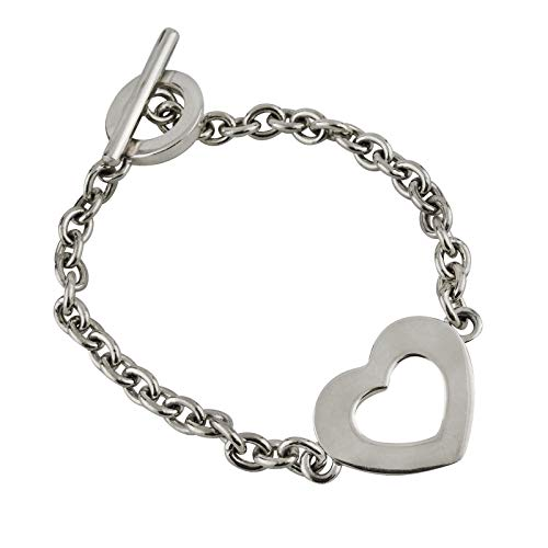 Open Heart 7'' Chain Link Bracelet Toggle Clasp - 925 Sterling Silver - Jewelry Accessories Key Chain Bracelets Crafting Bracelet Necklace Pendants