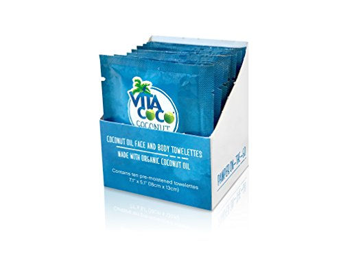 Vita Coco Organic Virgin Coconut Oil Wipes- All Natural Moisturizing Wipes for Face and Body - Great as a Hand Moisturizer or Makeup Remover - Individually Wrapped - Pack of 10 Wipes
