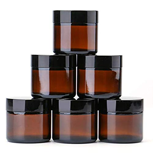 - 2 oz Round Glass Jars (6 Pack) - Empty Cosmetic Containers with Inner Liners, black Lids and Glass Sample Jars with lables (Amber) by THETIS Homes