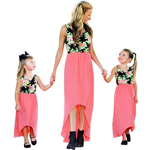 UNSHOU Mommy&Me Flower Print Striped Vest Sling Dress Parent-Child Wear Tank Maxi Long Dress Family Clothes Pink
