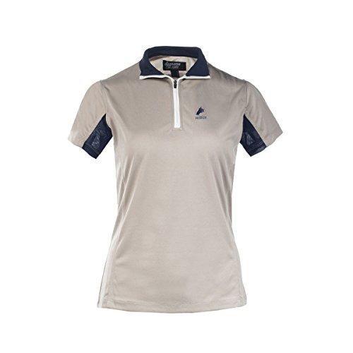 Technical Short Sleeve Polo Shirt - Horze Trista Short Sleeve Technical Shirt (Cobblestone Grey/Peacoat Dark Blue, 6)