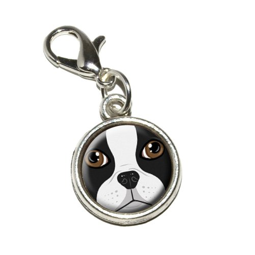 Graphics and More Boston Terrier Face Dog Pet Antiqued Bracelet Pendant Zipper Pull Charm with Lobster Clasp