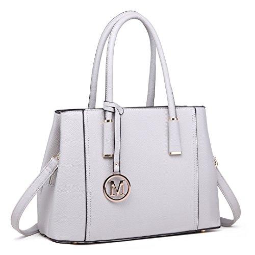 Leather Elegant Look Shape Miss Design V Women Top Handle Handbags Fashion Grey for Light Lulu Handbag Shoulder 1748 0WAAq5UE