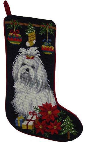 Maltese Christmas Stocking 100% Wool Hand-Stiched Needlpoint: Precious