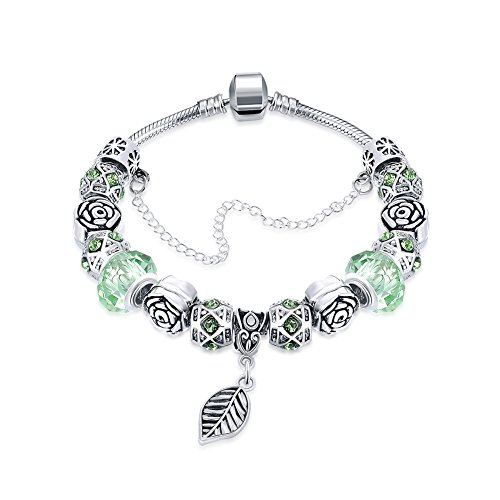 (Naivo Designer Inspired Crystal Snake Chain Murano Glass Beads Charm Bracelet, Grass Green Leaf)