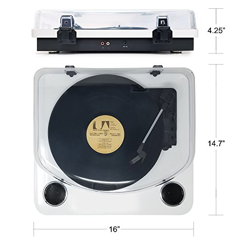 Photive Spin Vinyl Record Player with Built-in Speakers | 3-Speed Stereo USB Turntable Supports Vinyl to MP3 Recording | Bluetooth and RCA Connectivity (Piano White) by Photive (Image #1)