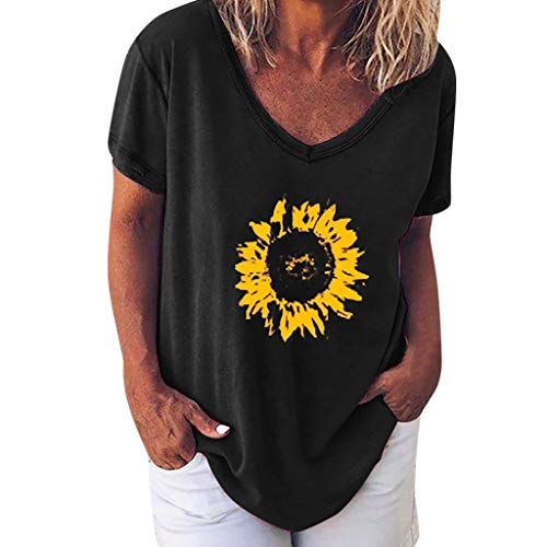 Women's Summer Tee, Casual Sunflower Ladies Short Sleeve T Shirt, Loose Comfy Basic Top Shirt Blouse Black