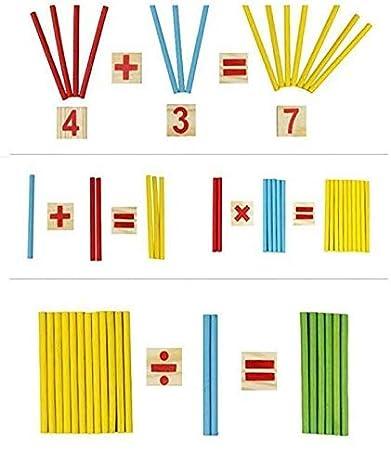Buntes Holz Mathematik Rechenst/äbchen f/ür die fr/ühe Motorik Entwicklung Ausbildung Ihres Kindes Leben Montessori Mathe Spielzeug A