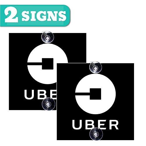 BelleXpress Uber Sign - 2 Pack [5x5 inches] - Removable Window Decal with Super Strong Suction Cups - Signs for Uber, Lyft and Rideshare Drivers (Not a sticker!) (2pack Uber sign)
