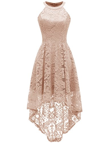 Dressystar 0028 Halter Floral Lace Cocktail Party Dress Hi-Lo Bridesmaid Dress XXXL Champagne
