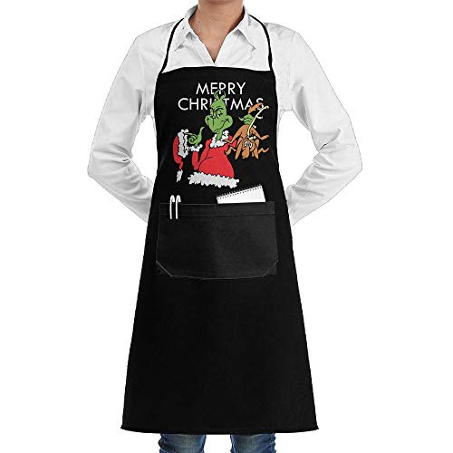 SARA NELL Apron Cute Cartoon The Grinch Lock Edge Waterproof Durable String Adjustable Easy Care Cooking Apron Kitchen Apron with Pockets for Women Men Chef
