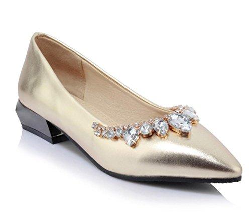 Scarpe singole poco profonde di svago del diamante di modo di estate delle donne di YCMDM di estate , gold , 38