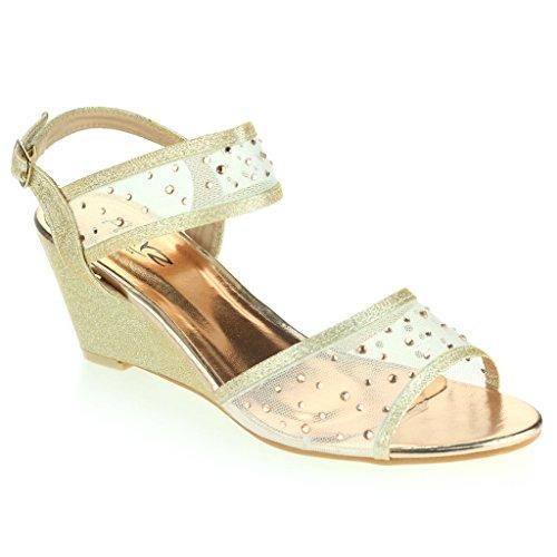 Mujer Señoras Medio Tacón de Cuña Diamante Detalle Slingback Verano Noche Fiesta Boda Prom Nupcial Sandalias Zapatos Talla Champán
