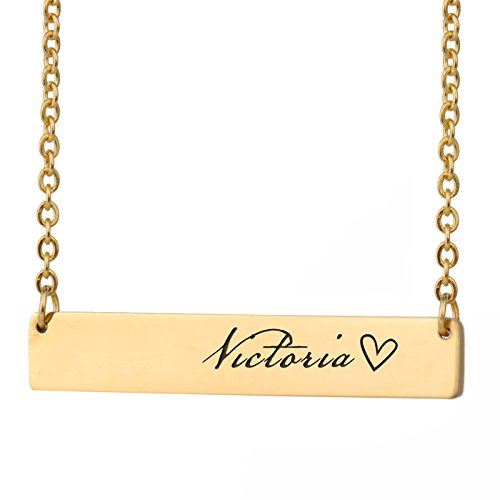 HUAN XUN Victoria Name Gold Custom Name Necklace Bar Initial Necklace Personal Jewelry Birthday Valentine Gift