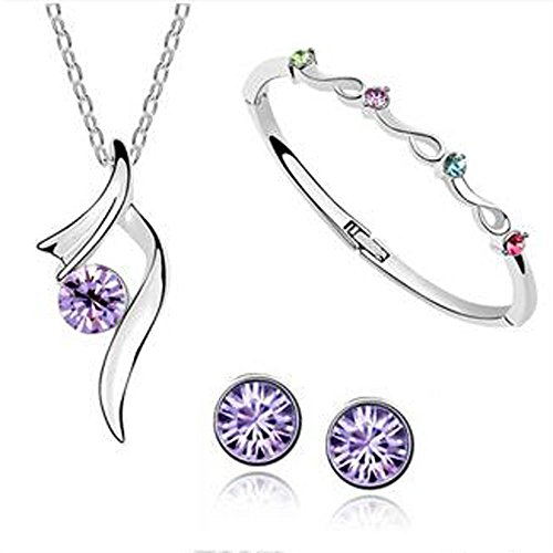 Zoe House Of Cards Costume (AmaziPro8 Fashion Jewelry Sets – FREE Diamond Anti Dust plug – Fashion jewelry earrings + Fashion Pendant + Fashion Jewelry Necklace - Austria Crystal fashion jewelry for women (Purple))