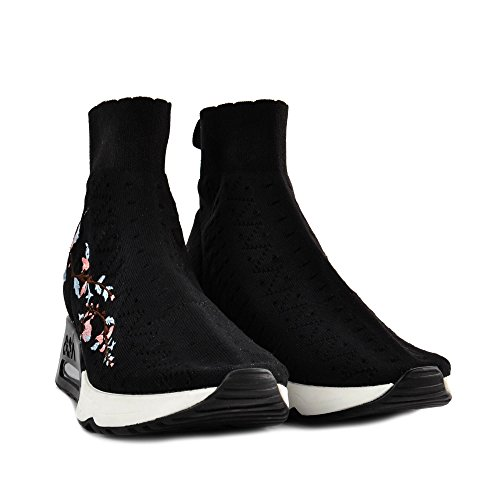 Knit LOTUS Ash Black Embroidery Black Trainers With fznFvqn