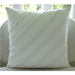 """White Throw Pillow Covers, Textured Pintucks Solid Color Pillow Covers, 14""""x14"""" Pillow Covers Decorative, Square Faux Suede Pillows Covers for Couch, Contemporary Pillow Cases -Contemporary White"""