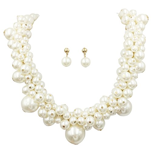 Imitation Pearl Beaded Necklace And Earrings Set (Ivory Gold Tone Cluster) ()