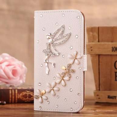 Incore Creative LG Optimus G E975/E973 Bling Jewelry Diamond Gem Leather Smart Case Cover With Magnetic Flip Horizontals & Card Holder - Angel Lily Flower