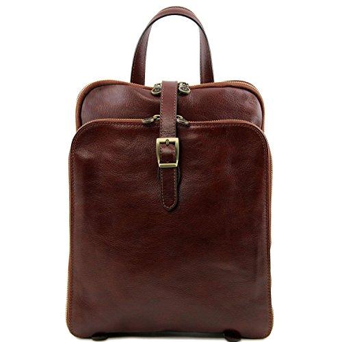 Tuscany Leather - Taipei - Rucksack aus Leder mit 3 Fächer Honig - TL141239/3 Braun CROCyKc