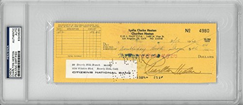 Charlton Heston Signed Authentic Autographed Check Slabbed PSA/DNA #83436265