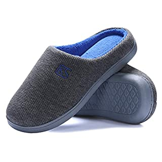 K KomForme Slippers for Men Memory Foam Home Shoes Cozy House Slippers Non-Slip Rubber Sole Grey & Navy 8.5-9M US