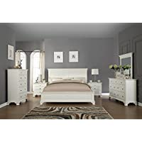 Roundhill Furniture White Bedroom Furniture Set Includes Bed Dresser Mirror 2 Night Stands and Chest, Queen