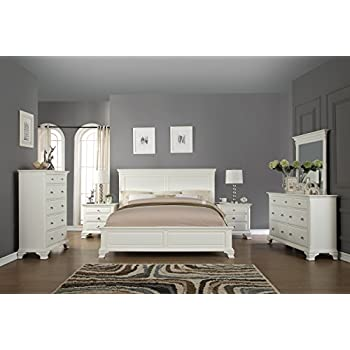Roundhill Furniture White Bedroom Furniture Set Includes Bed Dresser Mirror 2 Night Stands and Chest, King
