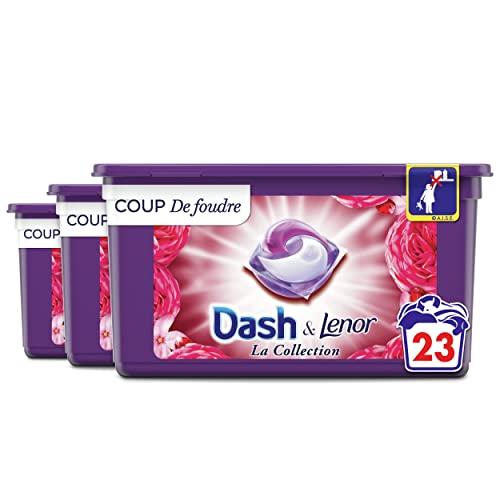 Dash Allin1 Lessive Capsules Collection Coup De Foudre, 69 Lavages (23 Pods x 3), Avec Une Touche De Fraîcheur Lenor