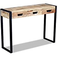 Festnight Mango Wood Console Table with 3 Drawers and Durable Iron Frame, 43.3'x 13.8'x 30.7'
